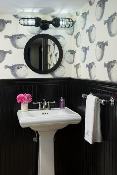 bathroom wallpaper, bathroom remodel, pedestal sink, puffer fish wallpaper, cute wallpaper