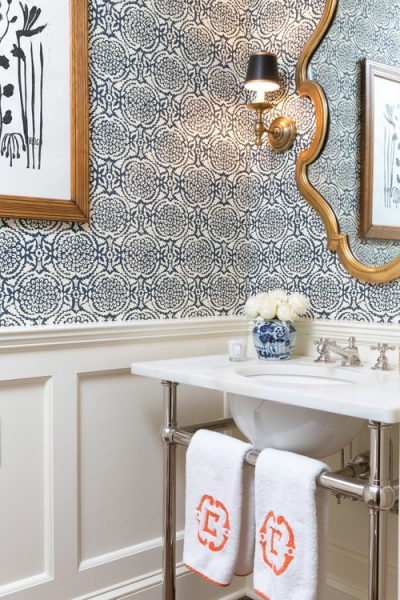 bathroom mirror, bathroom wallpaper, washstand, metal washstand