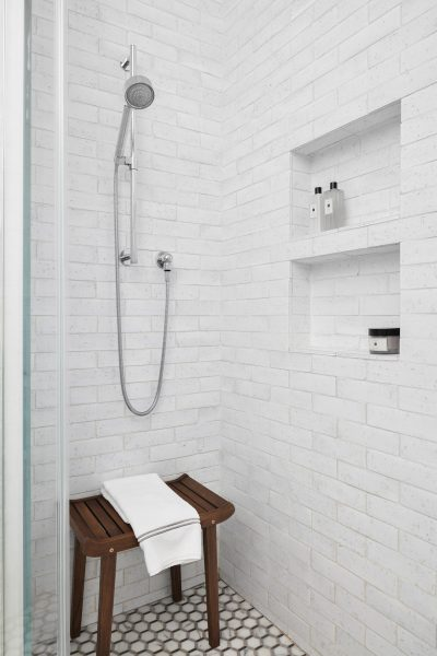 walk in shower, white subway tile, subway tile, bathroom subway tile