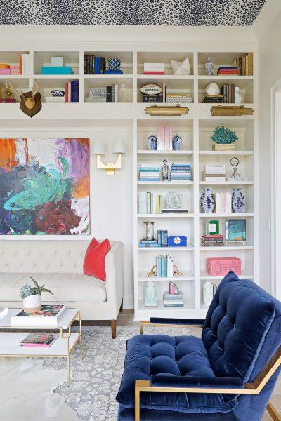 eclectic living room, chic living room, blue velvet sofa