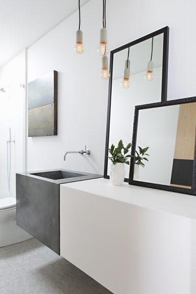 bathroom mirror, bathroom vanity, concrete bathroom sink, concrete sink