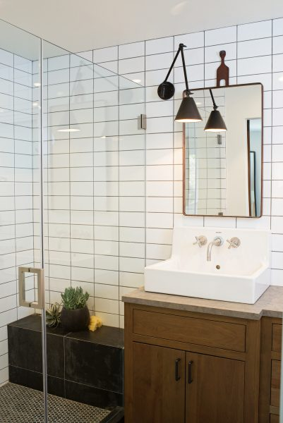 vessel sink, rectangular vessel sink, wall mount faucet, subway tile, white subway tile, bathroom remodel, bathroom vanity