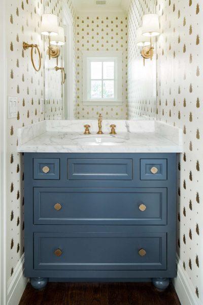 bathroom wallpaper, gold wallpaper, white and gold wallpaper, blue vanity, blue bathroom vanity
