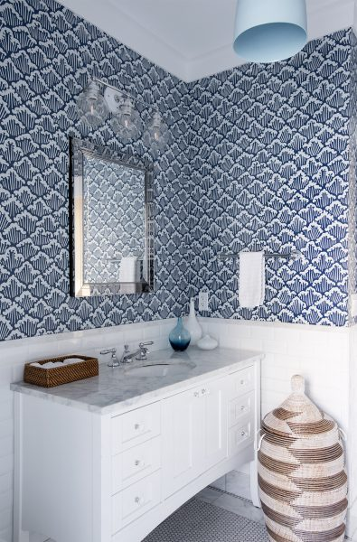 blue wallpaper, bathroom wallpaper, bathroom remodel
