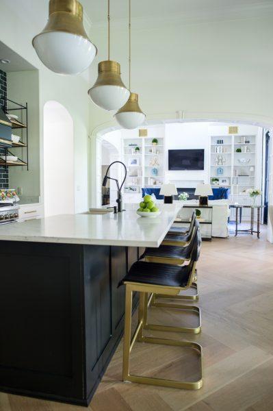 kitchen island, kitchen remodel, kitchen barstools, kitchen stools, gold kitchen light fixtures, blue kitchen tile, kitchen backsplash