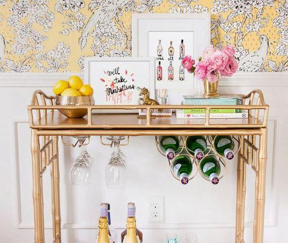 bar cart, gold bar cart, brass bar cart, how to style a bar cart