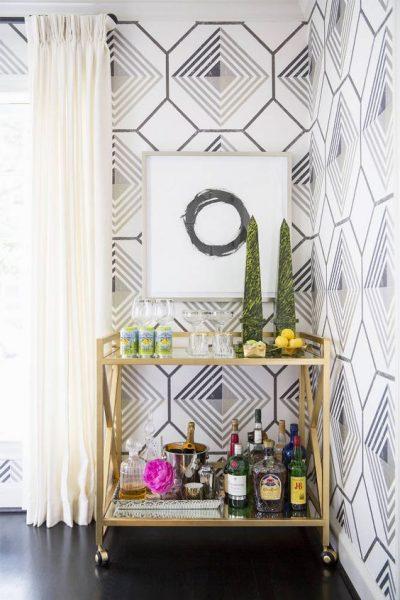 bar cart, gold bar cart, brass bar cart, how to style a bar cart, wallpaper, living room wallpaper