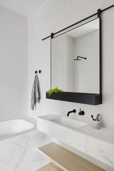 minimalist bathroom, wall mounted faucets, minimalist vanity