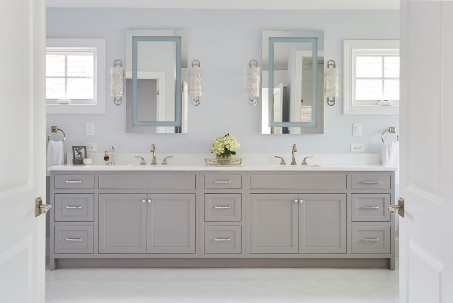 bathroom-vanity-gray-shaker cabinet doors