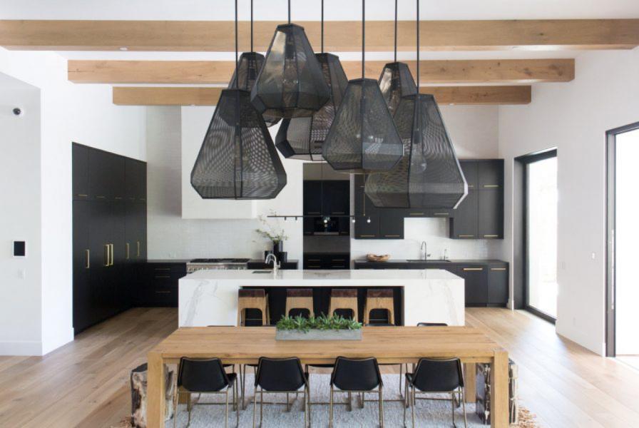 black bold light pendant kitchen