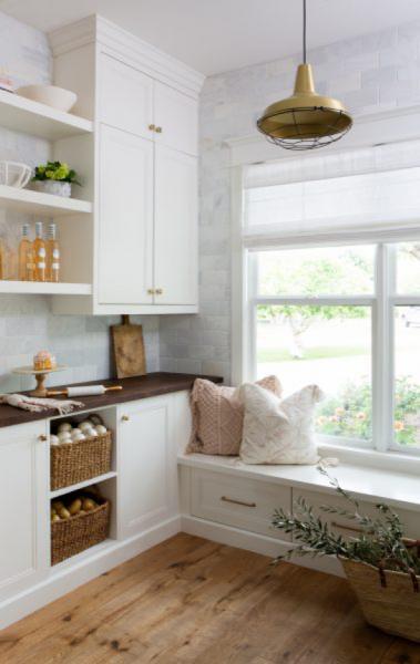brass light white kitchen nook