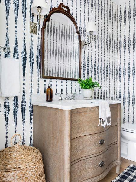 curved vanity, modern farmhouse bathroom, bathroom wallpaper, bathroom vanity