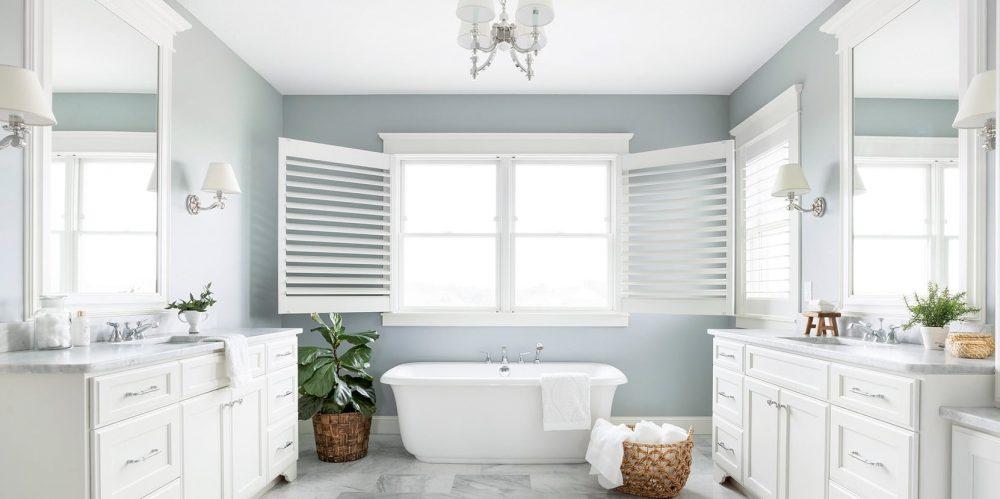 free standing tub, double vanity, bathroom vanity, bathroom remodel, blue bathroom