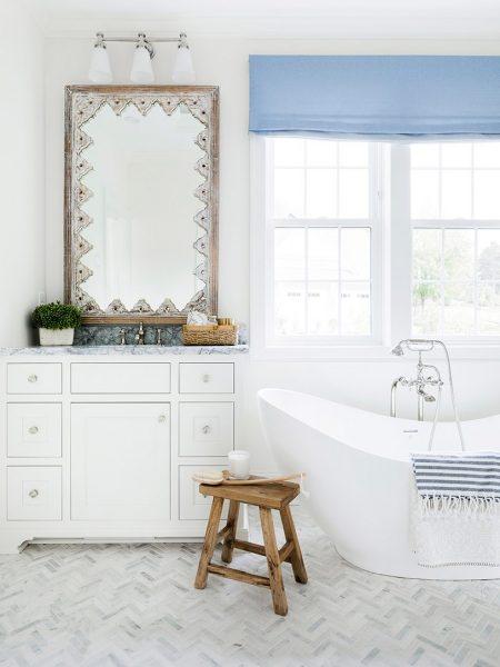 freestanding tub, herringbone tile, bathroom remodel, bathroom mirror, bathroom vanity
