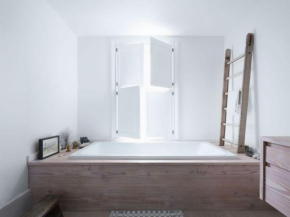 bathroom remodel, built in tub, drop in tub, wood built in tub