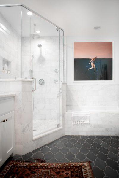 bathroom tile, walk in shower, bathtub, built in tub, drop in tub