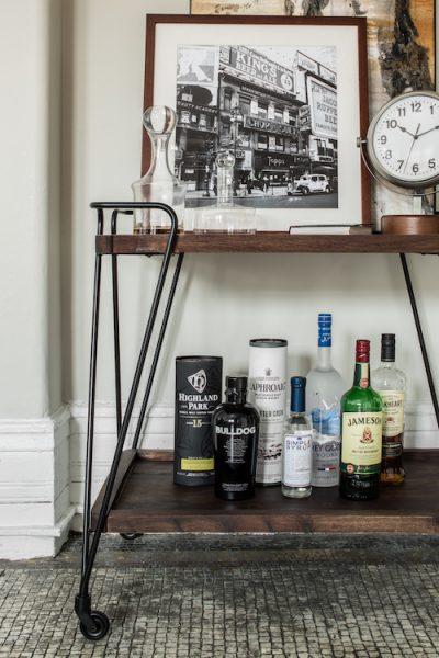 bar cart, bar cart styling, how to style a bar cart, industrial bar cart, rustic bar cart