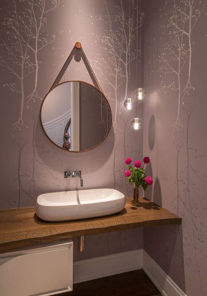 vessel sink, bathroom wallpaper, round mirror