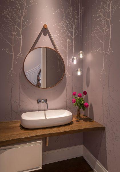 vessel sink, bathroom wallpaper, round mirror
