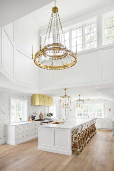 large brass kitchen light fixture