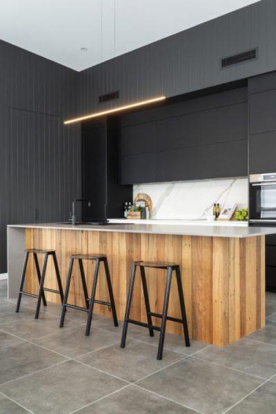 modern sleek black kitchen