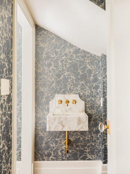 marble sink, bathroom wallpaper, bathroom vanity, bathroom vanity ideas, bathroom remodel, modern bathroom