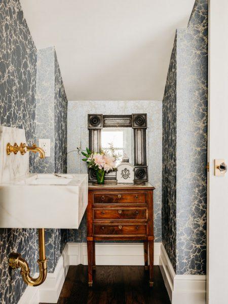 marble sink, gold hardware, bathroom wallpaper, blue bathroom