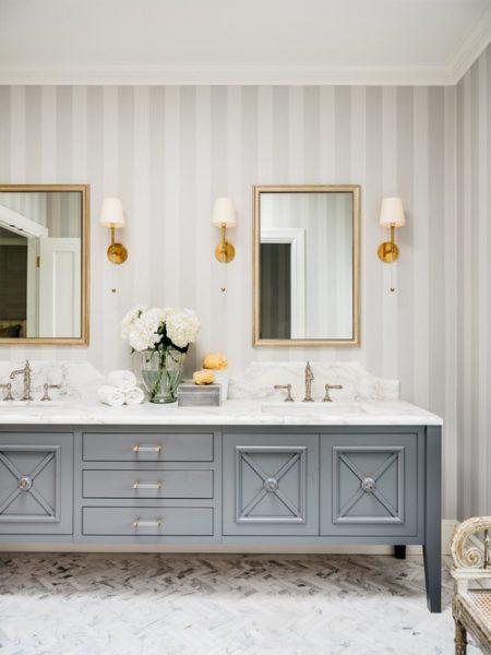 double vanity, blue vanity, blue bathroom vanity, bathroom wallpaper