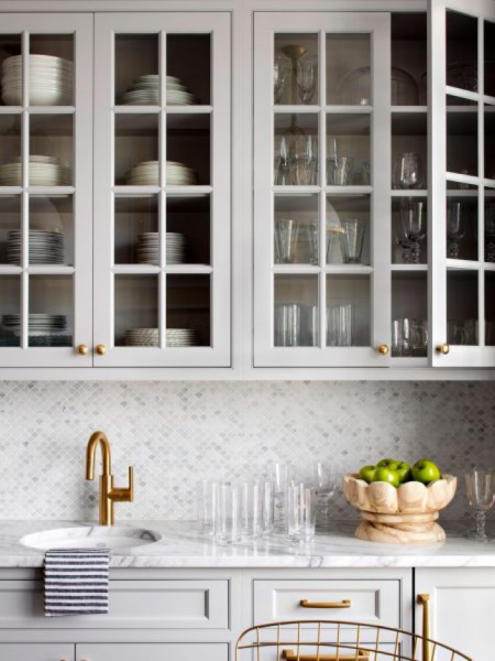 open grey kitchen cabinets