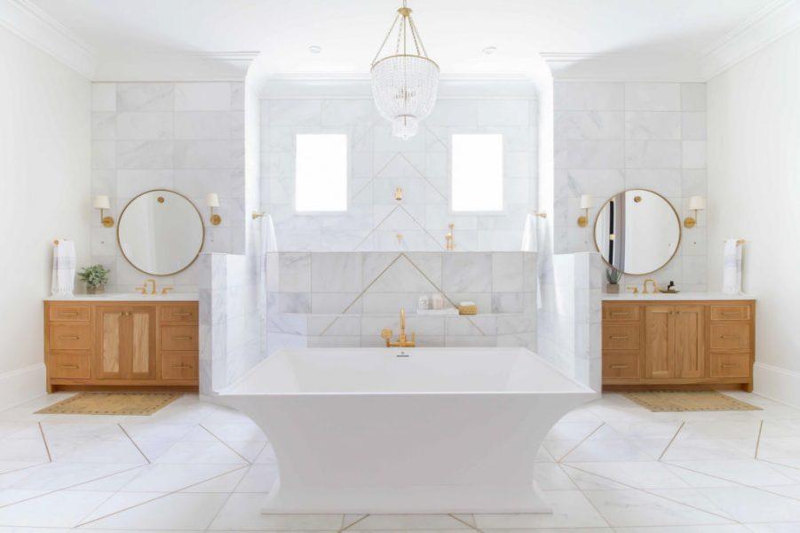 freestanding tub, marble tile, bathroom vanity, bathroom vanity ideas, bathroom remodel, modern bathroom