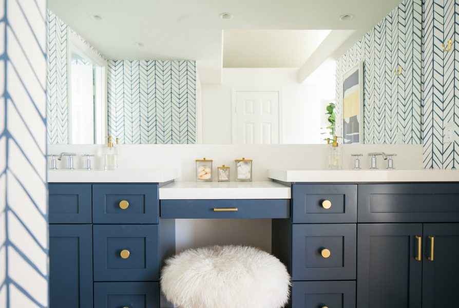 blue vanity, blue bathroom vanity, gold hardware, bathroom vanity, bathroom vanity ideas, bathroom remodel, modern bathroom