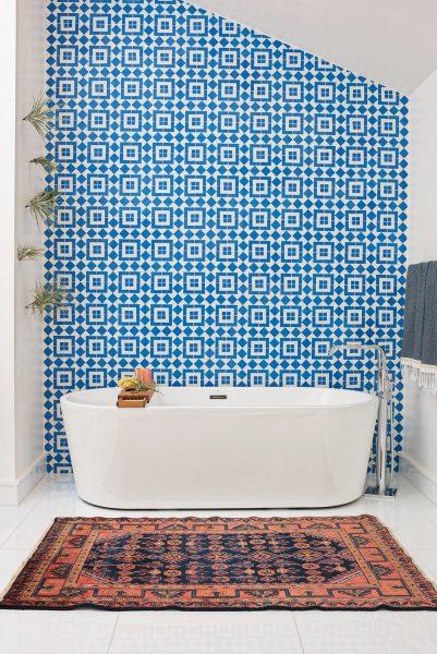freestanding tub, patterned tile, bathroom tile, blue bathroom tile, blue spanish tile, spanish tile