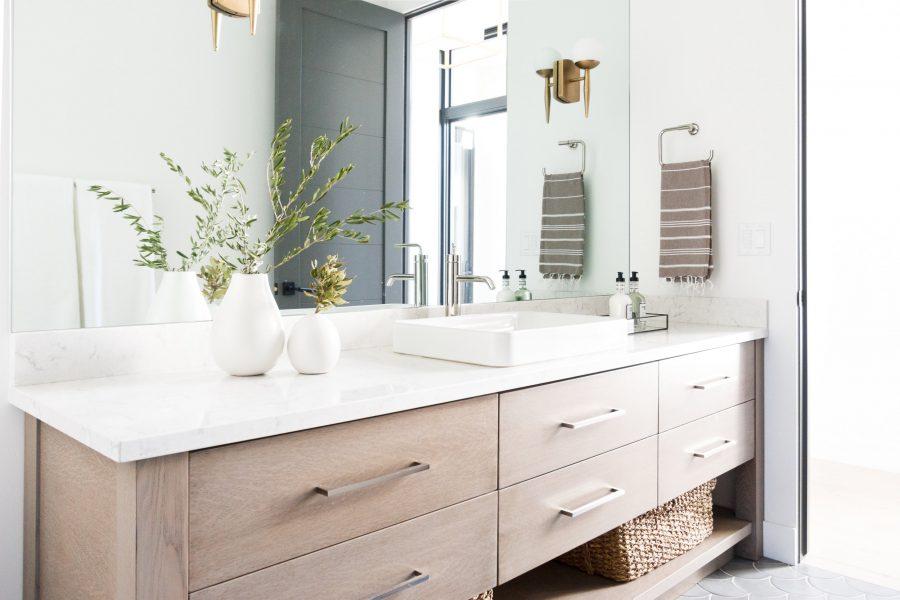 fish scale tile, vessel sink, bathroom vanity, bathroom vanity ideas, bathroom remodel, modern bathroom
