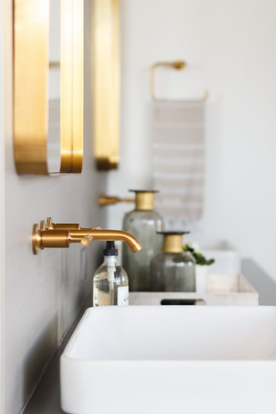 gold hardware, gold bathroom hardware, vessel sink