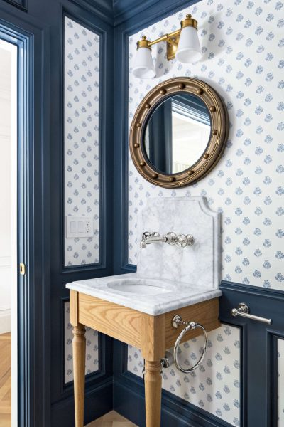 wooden washstand, blue bathroom, bathroom wallpaper