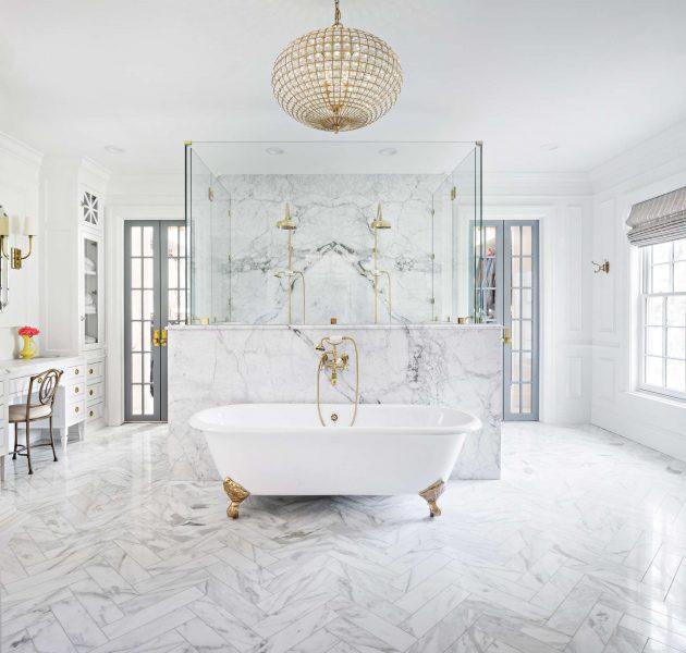 bathroom tile, marble herringbone tile, herringbone tile, bathroom herringbone tile, clawfoot tub, freestanding tub, bathroom remodel