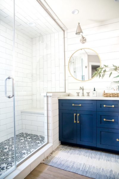 blue bathroom vanity, blue vanity, double vanity, gold hardware, gold bathroom hardware