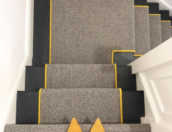 stair runners yellow and grey