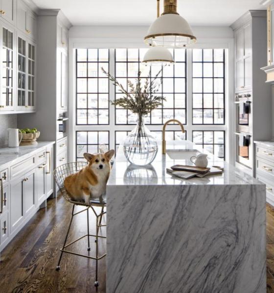 grey-kitchen-cabinets-marble-island