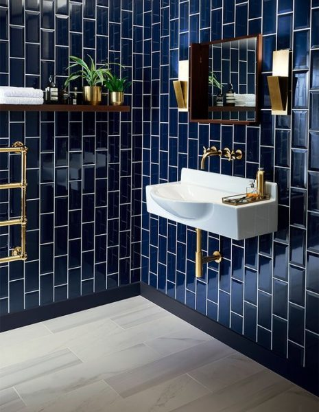Stunning navy blue subway tile bathroom remodel 2020