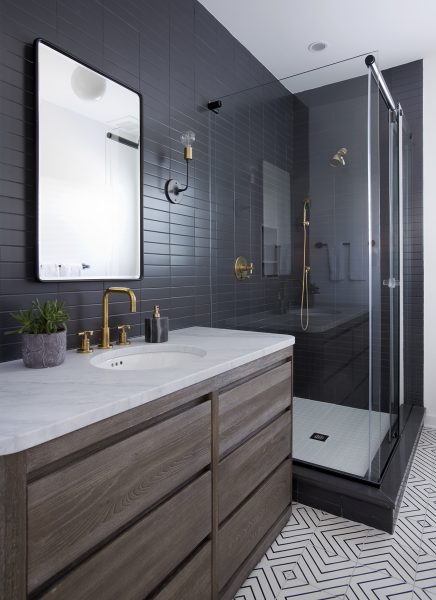 Modern Grey Subway Tile Bathroom with patterned floor tiles