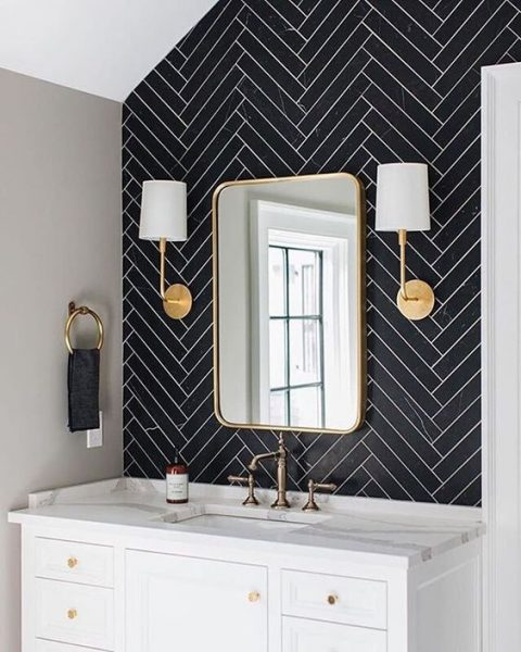 White Grout with Herringbone Slate Tile Bathroom Remodel 2020