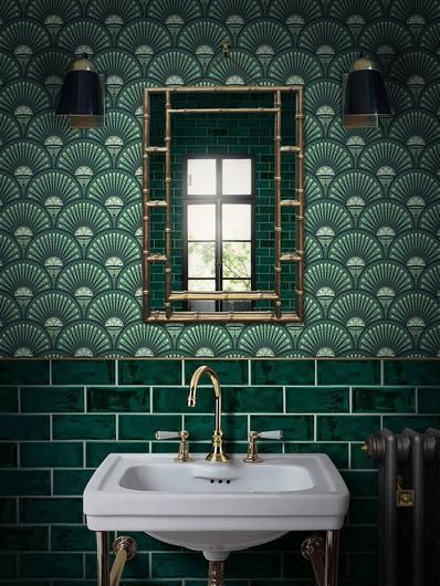 Hunter Green Subway Tile Eclectic Designed Bathroom