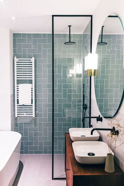 Stunning Turquoise Subway Tile Bathroom