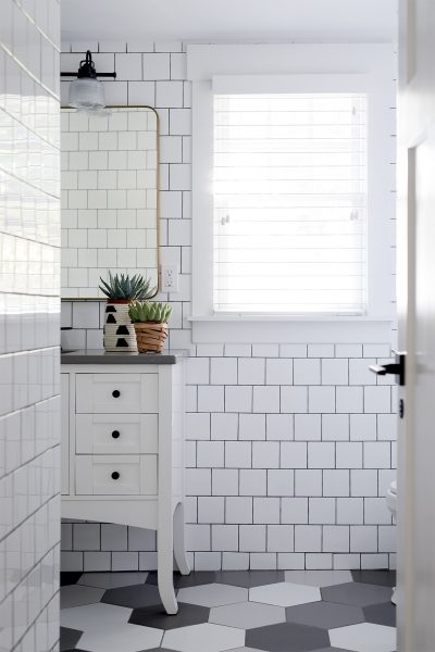Cute Square White Subway Tile Bathroom