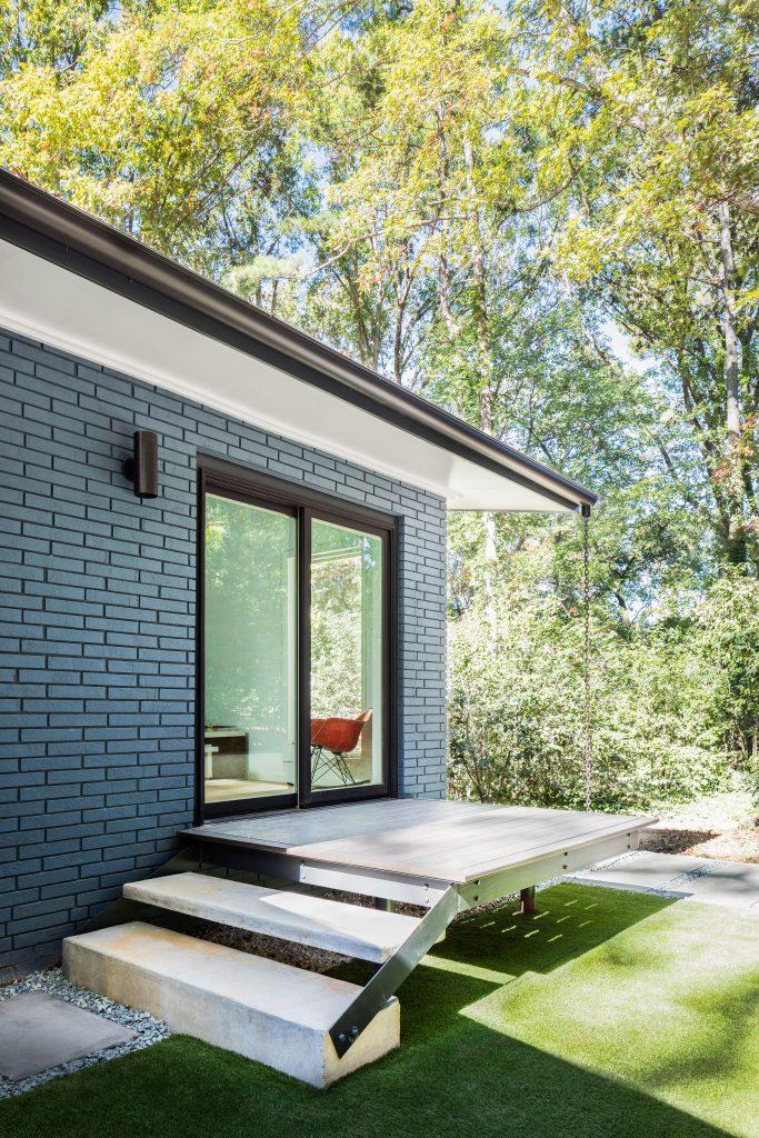 Octotea House Mid Century Modern Blue Brick Painted